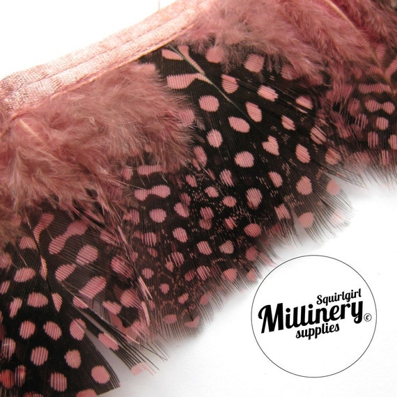 Dusky Pink Guinea Feather Fringe (around 20-25 feathers) for millinery & crafts