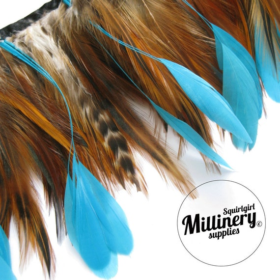 Natural Hackle & Turquoise Coque Feather Fringe for millinery and crafts (Around 65 feathers)
