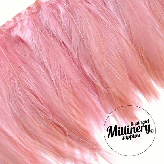 Dusky Pink Hackle Feather Millinery Hat Trim, 5 Inches Long (Around 60 feathers)