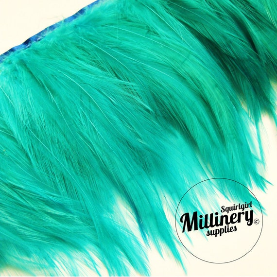 Jade Hackle Feather Fringe for fascinators, millinery and crafts  (Around 60 feathers)