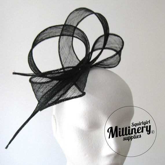 Black Hand Rolled Sinamay Ribbon Sash for Millinery, Hat Trimming & Fascinators