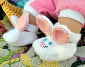 Hand Knit Bunny Baby Booties - 6 Months