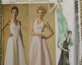 McCalls 3883 Evening Elegance Halter Evening Dress Pattern Size 6-8-10-12
