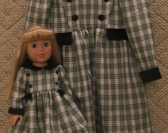 Dolly and me green dress size 4 and American Girl doll