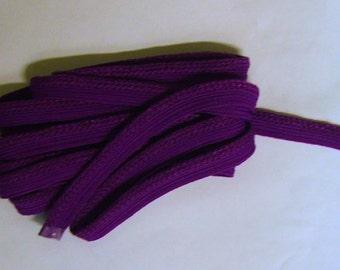 Purple 1/4 inch decorative flat cord with lip