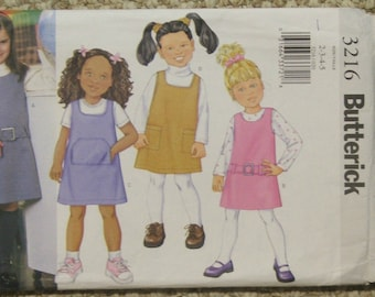 Butterick 3216 toddlers girls jumpers in 4 styles sizes 2-3-4-5