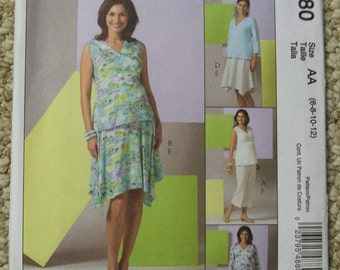 McCall's M4880 Maternity Tops, Skirt and pants in two lengths Sizes 6-8-10-12