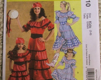 McCalls M5210 gypsy and country girl costumes kids Size 3-4-5-6-7-8