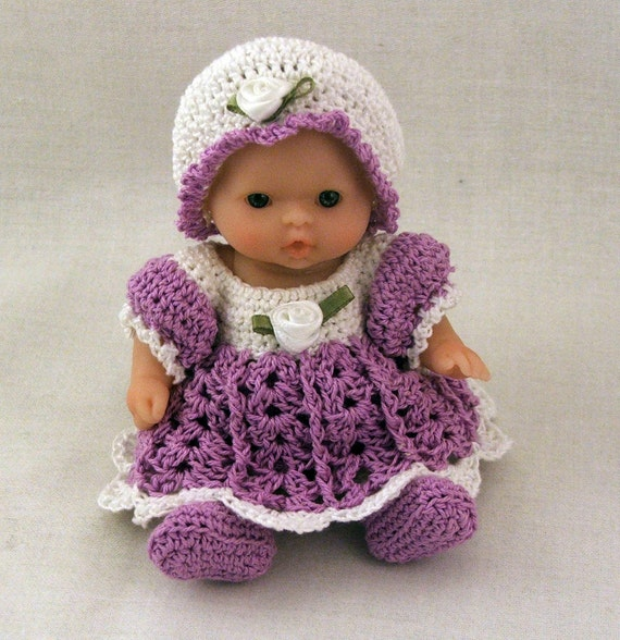 """Purple dressy dress outfit fits 5"""" Berenguer doll"""