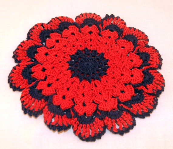 Red and blue double thick trivet/potholder