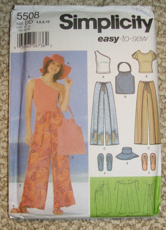 Simplicity 5508 wrap around pants, shirt,  bag floppy hat and slipper pattern size 4-6-8-10