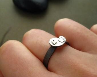 Tweety Birdie on Oxidized Silver Ring