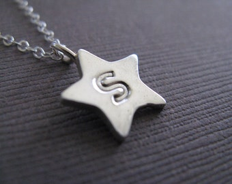 Recycled Silver Star Initial Charm Necklace