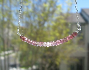Romantic Shades Pink Tourmaline Necklace in Silver