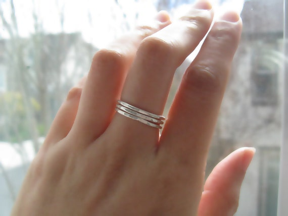 Skinny Mini Argentium Sterling Silver Stacked Rings - Set of Three (3)