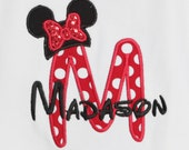 Girls Personalized Monogrammed Minnie Mouse Shirt, Mouse Ears Shirt, Tshirt, Tank,  Bodysuit