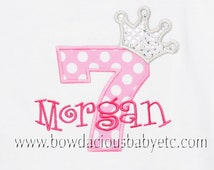 Personalized Birthday Shirt, Princess Crown Number, Monogrammed, Appliqued, Custom Fabric Choices and Colors,Girls Birthday Shirt