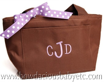 Monogrammed Lunch Bag, Personalized Lunch Box, Triple Initial Personalized Monogrammed Lunch Tote Bag, Custom Colors