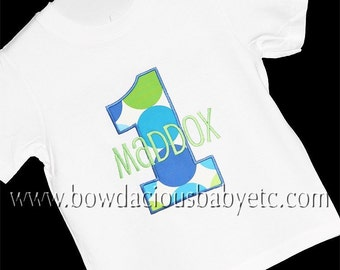 Personalized Boy Birthday Shirt, Monogrammed, Appliqued Number, Girl or Boy Custom Fabric Choices and Colors, Birthday Shirt