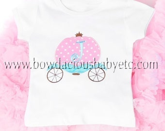 Monogrammed Personalized Princess Carriage Shirt, Monogrammed , Long or short sleeves, Sizes 3-6months to Size 12, Twins, Birthday Gift