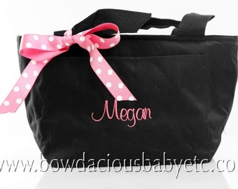 Personalized Lunch Tote, Monogrammed, Custom Colors and Font