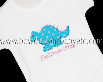 Personalized Monogrammed Girls Dinosaur Shirt, Custom, Girls or Boys, Twins, Free Monogramming, Also Available as a Bodysuit or Bodysuit