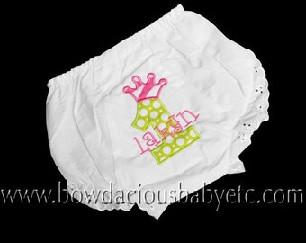 Personalized Birthday Princess Crown Diaper Cover, Bloomers, Fancy Pants, Totally Custom, Sizes Newborn up to 4t