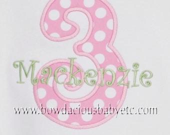 Girls Personalized Birthday Shirt, Any Age, Number, Shirt  Monogrammed,  Birthday Shirt, Birthday Gift