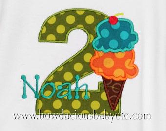 Boys Ice Cream Birthday Shirt, Ice Cream Party, Ice Cream Birthday Tee, Ice Cream Bodysuit, Any Age, You pick the colors