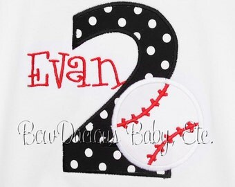 Personalized Birthday Baseball Number, Monogrammed, Custom Fabrics, Colors, and Font, Custom Fabric Choices and Colors, Boys Birthday Shirt