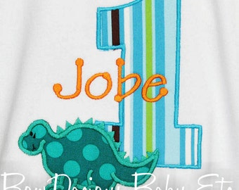 Personalized Dinosaur Birthday Shirt, Number, Monogrammed, Custom Colors, Girls Birthday, Boys Birthday, Shirt, Tank, Bodysuit, Romper