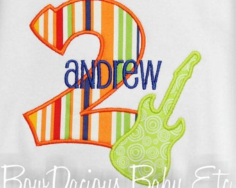 Personalized guitar Birthday Shirt Shirt, Rock Star, Monogrammed, Personalized, Girls or Boys, Custom Fabric and Font
