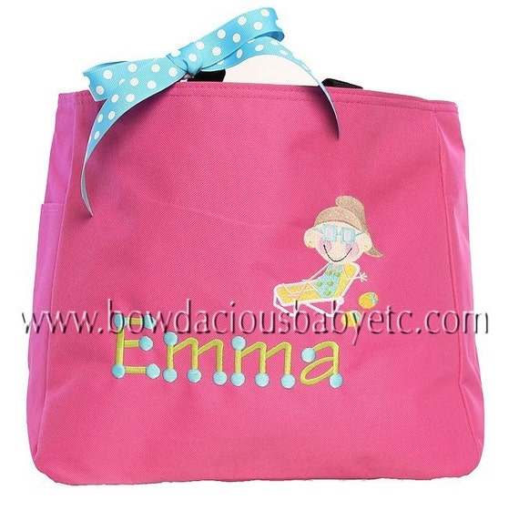 Swim or Beach Monogrammed Tote Bag, Girls or Boys, Custom Colors, YOU ...