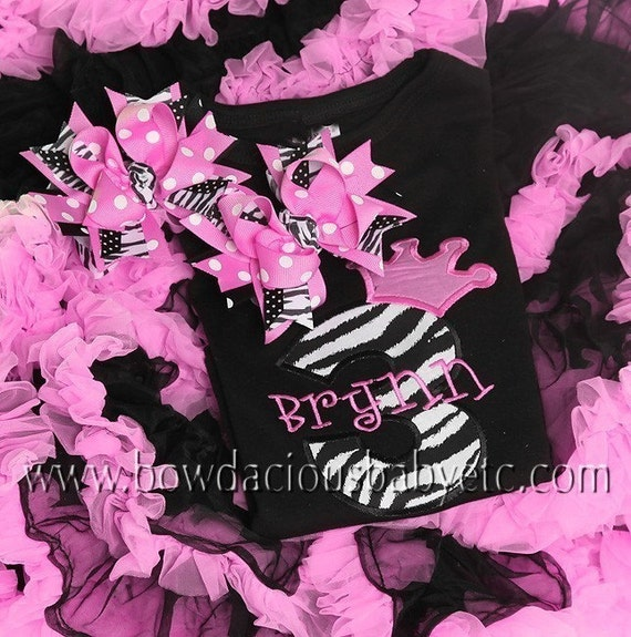 Personalized Birthday Shirt and Birthday Hair Bow Set, Princess Crown Number, Monogrammed, Appliqued, Custom Fabric Choices and Colors, Long Sleeves, Short Sleeves, Tshirt, Tank, Onesie, Zebra, Polka Dots