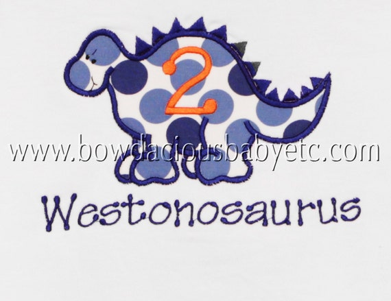 Personalized Birthday Dinosaur  Shirt, Choose Your Own Fabric, Monogrammed, Birthday Number, Birthday Shirt, Birthday Gift,  Personalized