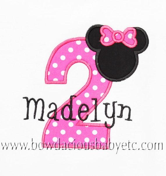 Personalized Minnie Mouse Birthday Number Shirt, Mickey Available, Custom Fabrics, Girls Birthday, Shirt,Tank,Bodysuit,Romper,Gift