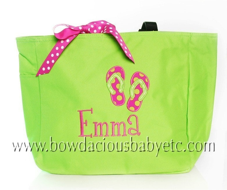 Personalized Beach Tote Bag Swim Tote Custom Colors