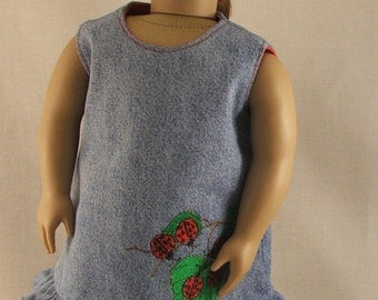 Embroidered LadyBug Denim Dress fits American Girl doll