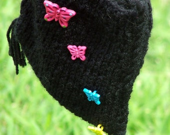 Fluttering Butterflies On Black Handknit  Purse