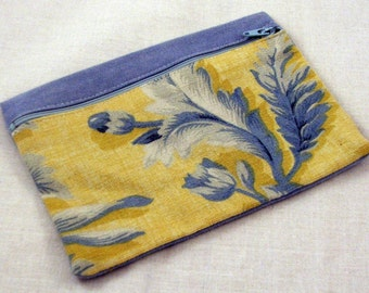 Blue Floral Zippered Pouch