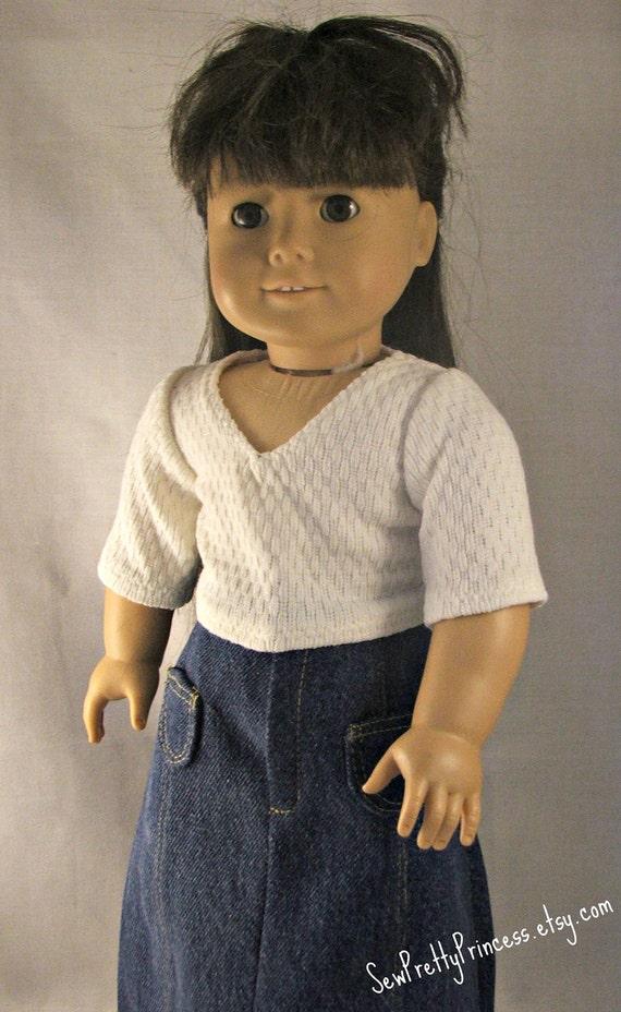 Detailed Long Jean Skirt and 3/4 length sleeved cream v-neck shirt fits American Girl Dolls