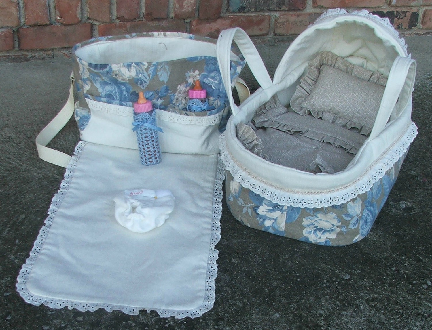 Ooak Blue Floral Bassinet And Diaper Bag Set For Bitty Baby