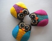 Eco Felt Owl Magnets, Set of 3