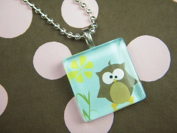 Little Brown Owl Glass Tile Pendant