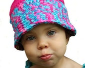 Handmade Crocheted Hot Pink and Turquoise Hat for Toddler