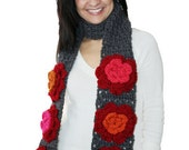Grey Scarf with Red Orange Pink Flowers - Handmade Crocheted for Women - Winter Gift for Her