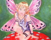 Reserved for Aknite49 -Fairy Watercolor painting 8x10 in.