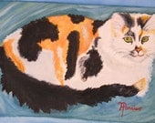 Reserved for Anit49 Print 8x10 in. Watercolor portrait of Calico Cat