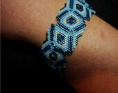 Turquoise and deep Blue - Peyote Bracelet