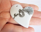 Heart Black and White ceramic pendent - OOAK - like lace